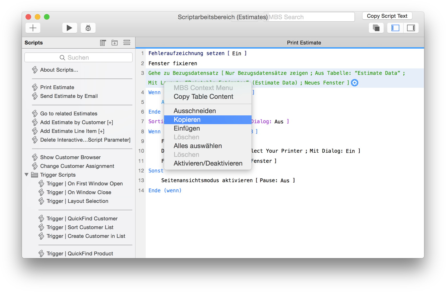 FileMaker 15 Script Workspace