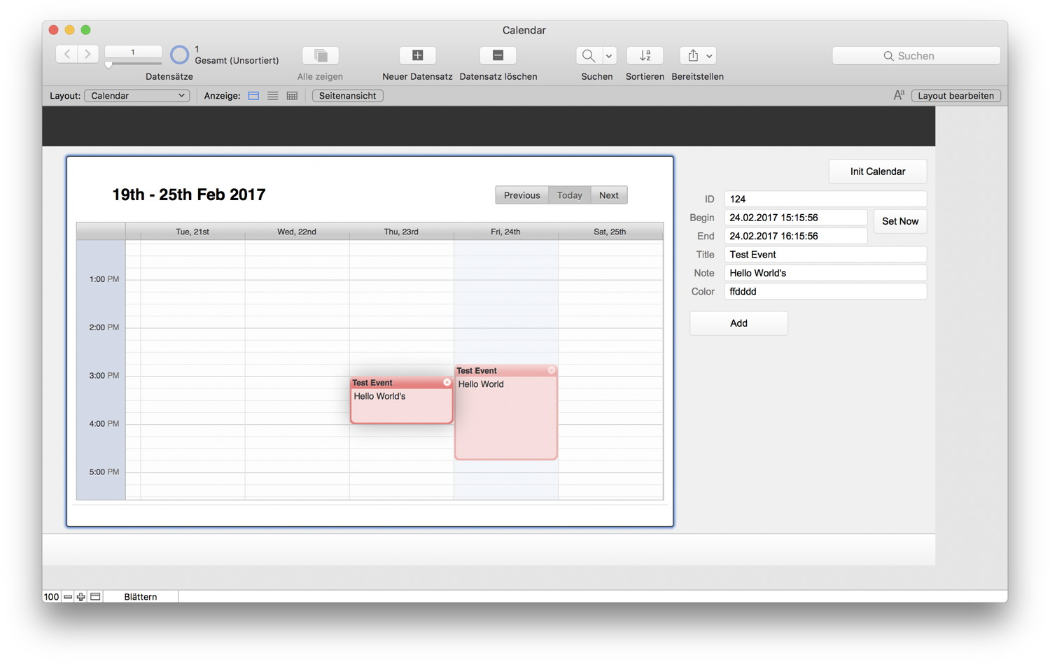Calendar in FileMaker with MBS Plugin